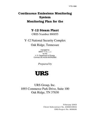 Primary view of object titled 'Continuous Emissions Monitoring System Monitoring Plan for the Y-12 Steam Plant'.