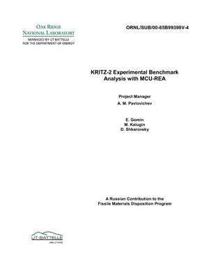 Primary view of object titled 'KRITZ-2 Experimental Benchmark Analysis'.