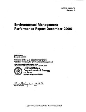 Primary view of object titled 'Environmental Management Performance Report to DOE-RL December 2000'.