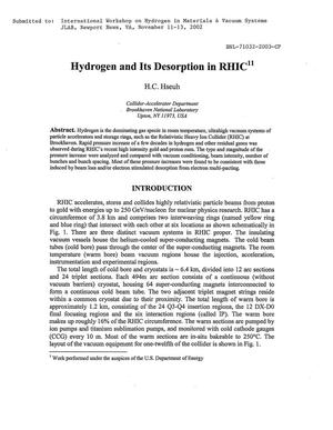Primary view of object titled 'HYDROGEN AND ITS DESORPTION IN RHIC.'.