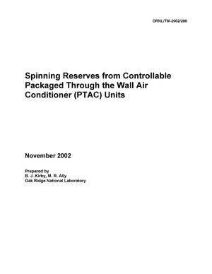 Primary view of object titled 'Spinning Reserves from Controllable Packaged Through the Wall Air Conditioner (PTAC) Units'.