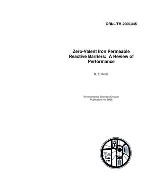 Primary view of object titled 'Zero-Valent Iron Permeable Reactive Barriers: A Review of Performance'.
