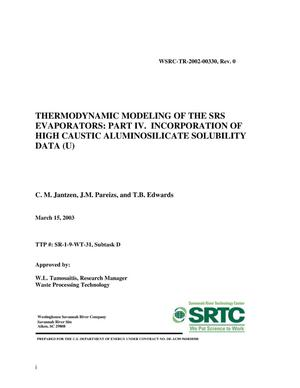 Primary view of object titled 'Thermodynamic Modeling of the SRS Evaporators: Part IV. Incorporation of High Caustic Aluminosilicate Solubility Data'.