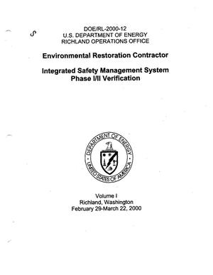 Primary view of object titled 'Integrated Safety Management System Phase 1 and 2 Verification for the Environmental Restoration Contractor Volumes 1 and 2'.