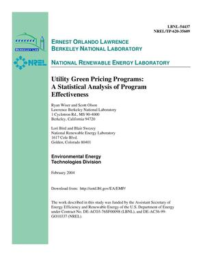 Primary view of object titled 'Utility green pricing programs: A statistical analysis of program effectiveness'.
