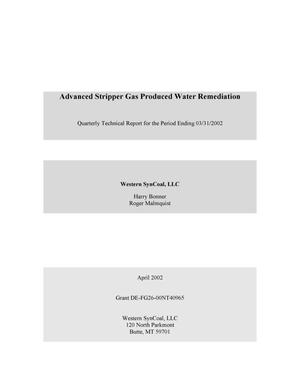 Primary view of object titled 'Advanced Stripper Gas Produced Water Remediation, Quarterly Technical Report: January-March 2002'.