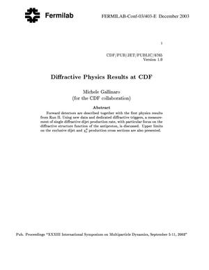 Primary view of object titled 'Diffractive physics results at CDF'.