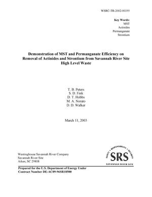Primary view of object titled 'Demonstration of MST and Permanganate Efficiency on Removal of Actinides and Strontium from Savannah River Site High Level Waste'.