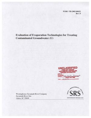 Primary view of object titled 'Evaluation of Evaporation Technologies for Treating Contaminated Groundwater'.