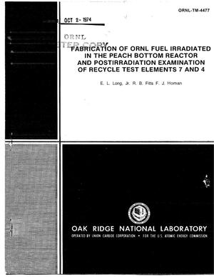 Primary view of object titled 'Fabrication of ORNL Fuel Irradiated in the Peach Bottom Reactor and Postirradiation Examination of Recycle Test Elements 7 and 4'.