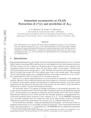 Primary view of object titled 'Azimuthal asymmetries at CLAS: Extraction of ea(x) and prediction of AUL'.
