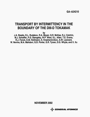 Primary view of object titled 'TRANSPORT BY INTERMITTENCY IN THE BOUNDARY OF THE DIII-D TOKAMAK'.