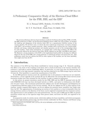 Primary view of object titled 'A preliminary comparative study of the electron-cloud effect for the PSR, ISIS, and the ESS'.