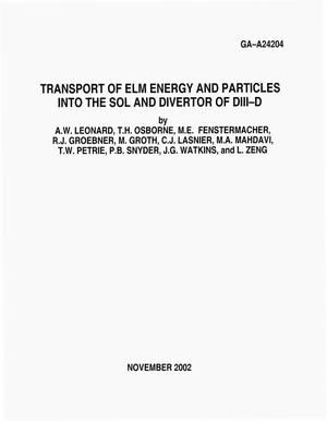 Primary view of object titled 'TRANSPORT OF ELM ENERGY AND PARTICLES INTO THE SOL AND DIVERTOR OF DIII-D'.