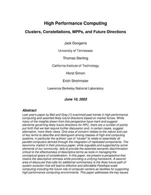 Primary view of object titled 'High performance computing: Clusters, constellations, MPPs, and future directions'.