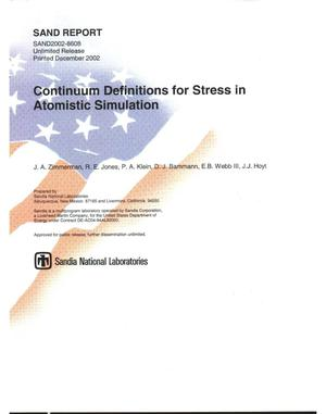 Primary view of object titled 'Continuum Definitions for Stress in Atomistic simulation'.