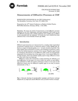 Primary view of object titled 'Measurements of diffractive processes at CDF'.