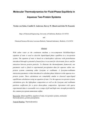 Primary view of object titled 'Molecular thermodynamics for phase equilibria in aqueous two-protein systems'.