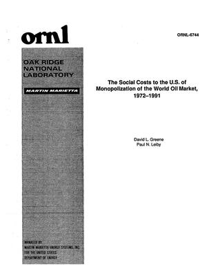 Primary view of object titled 'The Social Costs to the U.S. of Monopolization of the World Oil Market, 1972-1991'.
