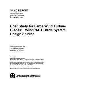 Primary view of object titled 'Cost Study for Large Wind Turbine Blades'.