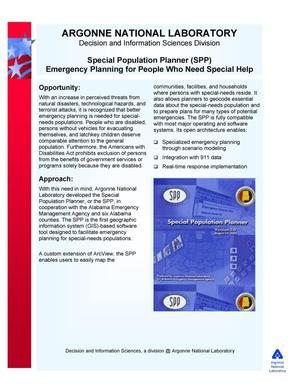Primary view of object titled 'Special population planner (SPP) emergency planning for people who need special help.'.