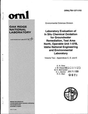Primary view of object titled 'Laboratory Evaluation of In Situ Chemical Oxidation for Groundwater Remediation, Test Area North, Operable Unit 1-07B, Idaho National Engineering and Environmental Laboratory, Volume Two, Appendices C, D, and E'.