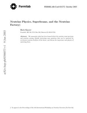 Primary view of object titled 'Neutrino physics, superbeams and the neutrino factory'.