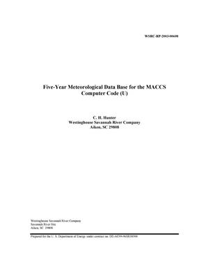Primary view of object titled 'Five-Year Meteorological Data Base for the MACCS Computer Code'.