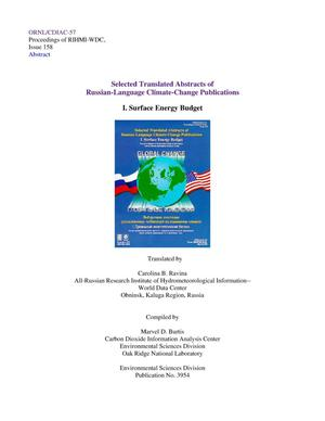 Primary view of object titled 'Selected Translated Abstracts of Russian-Language Climate-Change Publications, I. Surface Energy Budget'.