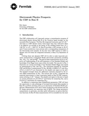 Primary view of object titled 'Electroweak physics prospects for CDF in Run II'.