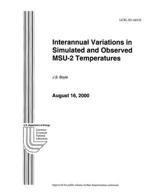 Primary view of object titled 'Interannual Variations in Simulated and Observed MSU-2 Temperatures'.
