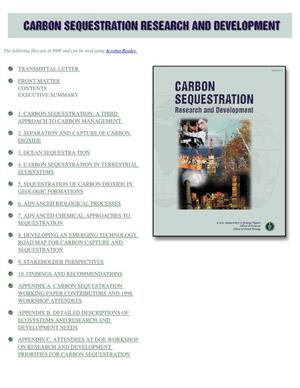 Primary view of object titled 'Carbon sequestration research and development'.