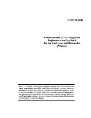 Primary view of object titled 'Data Management Plan for the Environmental Restoration Program'.