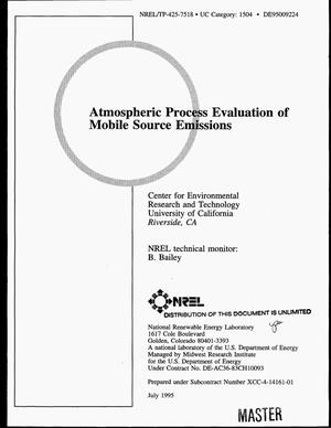 Primary view of object titled 'Atmospheric process evaluation of mobile source emissions'.