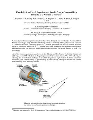Primary view of object titled 'First PGAA and NAA experimental results from a compact high intensity D-D neutron generator'.