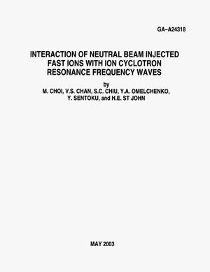 Primary view of object titled 'INTERACTION OF NEUTRAL BEAM INJECTED FAST IONS WITH CYCLOTRON RESONANCE FREQUENCY WAVES'.