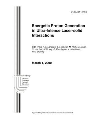 Primary view of object titled 'Energetic Proton Generation in Ultra-Intense Laser-Solid Interactions'.