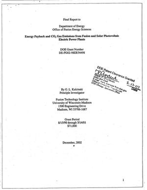 Primary view of object titled 'Energy payback and CO{sub 2} gas emissions from fusion and solar photovoltaic electric power plants. Final report to Department of Energy, Office of Fusion Energy Sciences'.