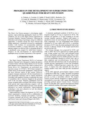 Primary view of object titled 'Progress in the development of superconducting quadrupoles for heavy ion fusion'.