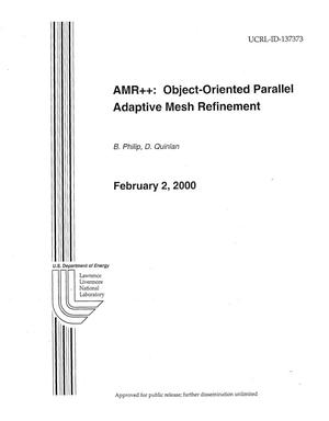 Primary view of object titled 'AMR++: Object-Oriented Parallel Adaptive Mesh Refinement'.