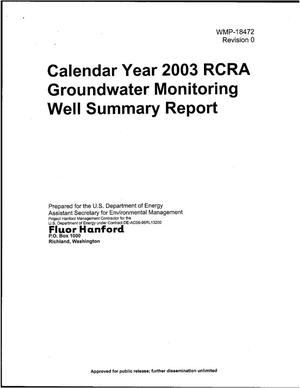 Primary view of object titled 'Calendar Yar 2003 RCRA Groundwater Monitoring Well Summary Report'.