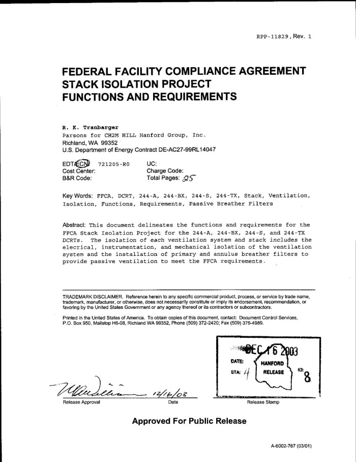 Federal Facility Compliance Agreement Ffca Stack Isolation Project