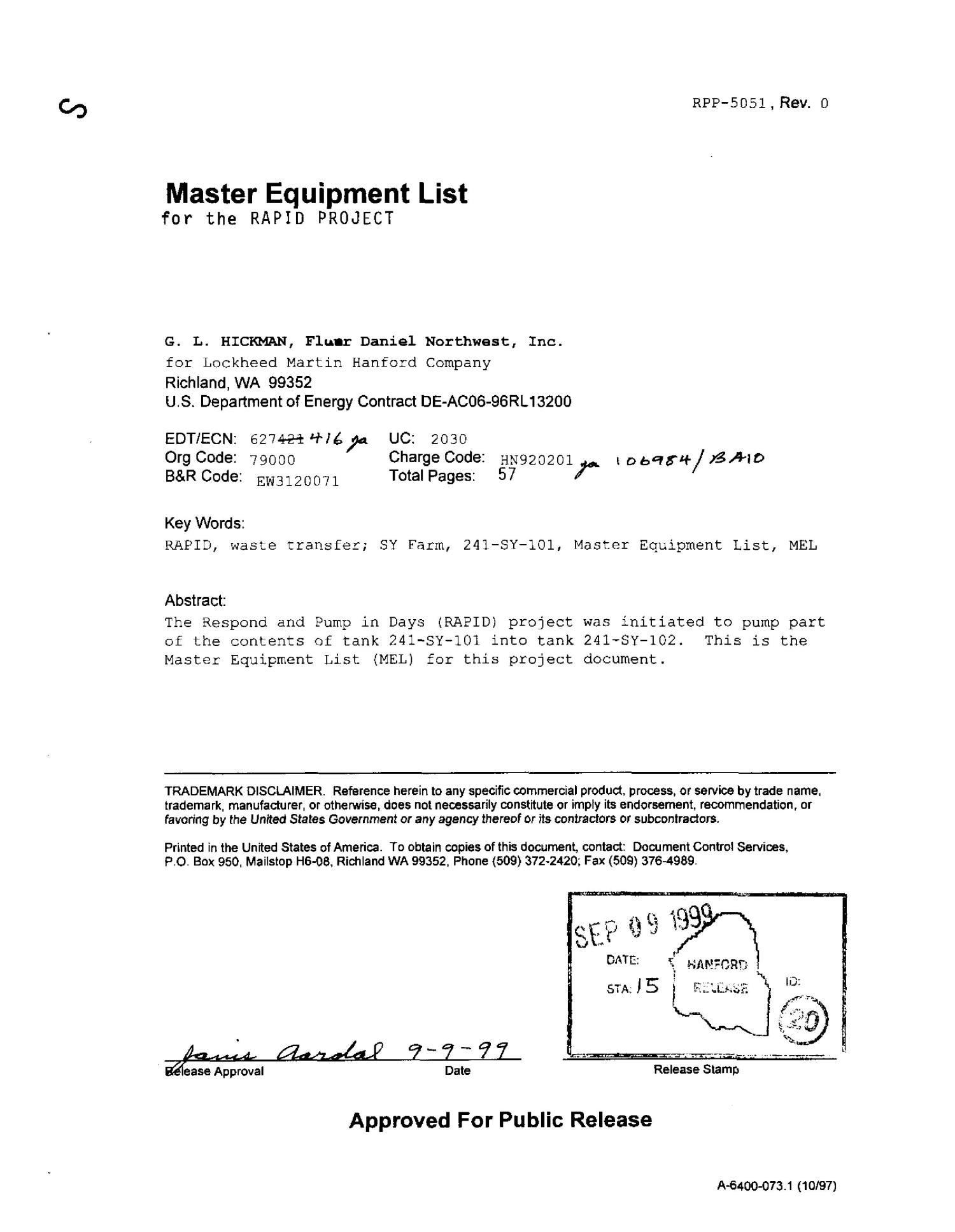 Master Equipment List for the RAPID Project                                                                                                      [Sequence #]: 2 of 58