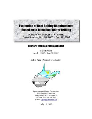 Primary view of object titled 'EVALUATION OF ROOF BOLTING REQUIREMENTS BASED ON IN-MINE BOLTER DRILLING'.