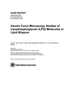 Primary view of object titled 'Atomic Force Microscopy Studies of Lipophosphoglycan (LPG) Molecules in Lipid Bilayers'.