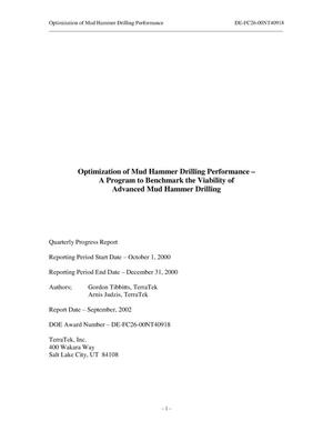 Primary view of object titled 'OPTIMIZATION OF MUD HAMMER DRILLING PERFORMANCE - A PROGRAM TO BENCHMARK THE VIABILITY OF ADVANCED MUD HAMMER DRILLING'.
