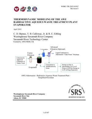 Primary view of object titled 'Thermodynamic Modeling of the AWE Radioactive Aqueous Waste Treatment Plant Evaporator'.
