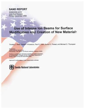 Primary view of object titled 'Use of Intense Ion Beams for Surface Modification and Creation of New Materials'.