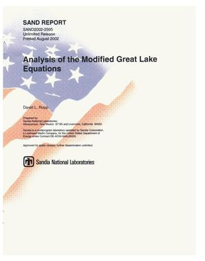 Primary view of object titled 'Analysis of the Modified Great Lake Equations'.