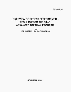 Primary view of object titled 'OVERVIEW OF RECENT EXPERIMENTAL RESULTS FROM THE DIII-D ADVANCED TOKAMAK PROGRAM'.